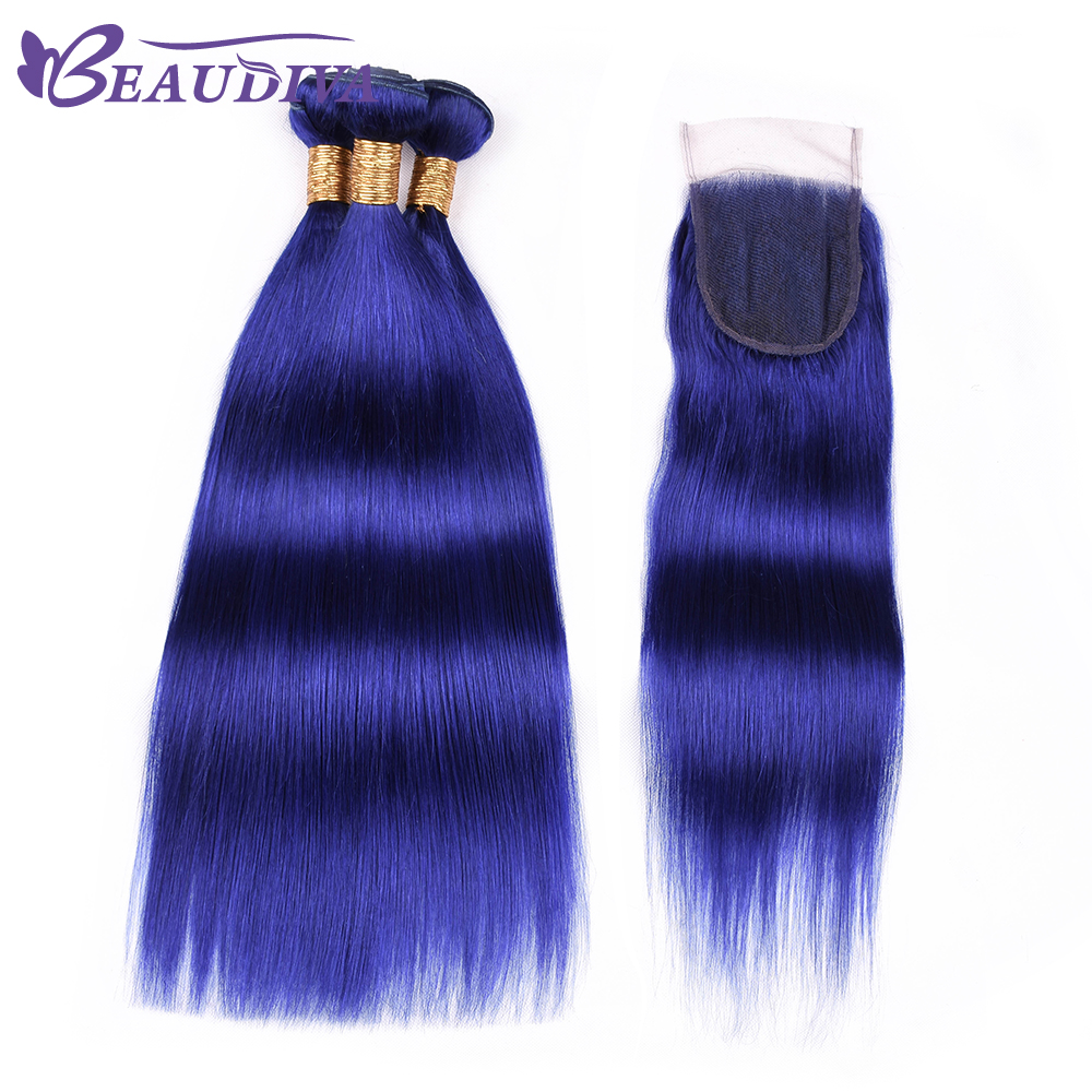 Beaudiva Pre Colored Brazilian Blue Straight Hair Bundles With Closure 100% Human Hair Bundles With 4*4 Lace Closure Remy Hair
