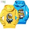 V-TREE hoodies Primavera outono para meninas meninos roupas asseclas crianças hoodies azul/amarelo minion crianças jumper de moletom com capuz