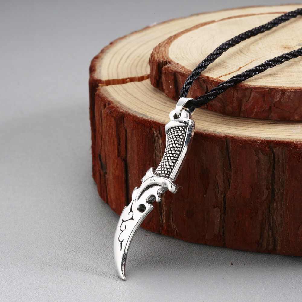 QIAMNI Punk Pedang Serigala Gigi Daya Karakter Sendok Garpu Parang Pisau Kalung Antik Pendant Kalung Pria Perhiasan Viking Charm