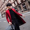 M-3XL! 2016 projeto Longo de lã casaco de outono e inverno de lã masculina estilo britânico fino roupas outerwear homens casuais trajes