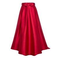Bhoartist Novo e Elegante Saia de Cintura Alta Mulheres Vermelho Cor Sólida Saias Longas Meninas Plain Saias Partido Tornozelo-Comprimento Zipper Bowknot