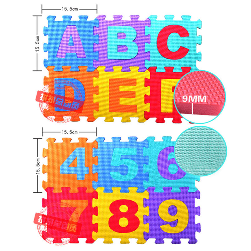 36pcs/Set EVA Baby Foam Clawling Mats Puzzle Toys For Kids Floor Play Mat Educational Number Letter Childrens Carpet 15.5*15.5cm