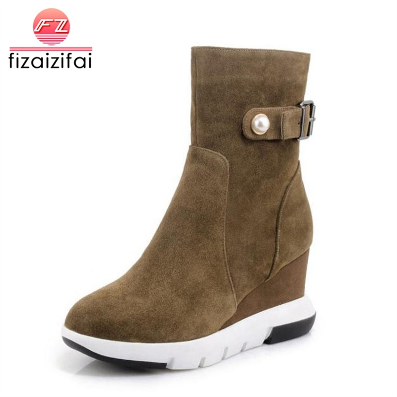 Fizaizifai Women Real Leather Half Short Boots Metal Beading Zipper Wedges Boots Warm Fur Winter Botas Women Footwear Size 34-39 women real genuine leather ankle boots half short boots winter warm botas lady footwear leisure shoes r7465 size 34 39