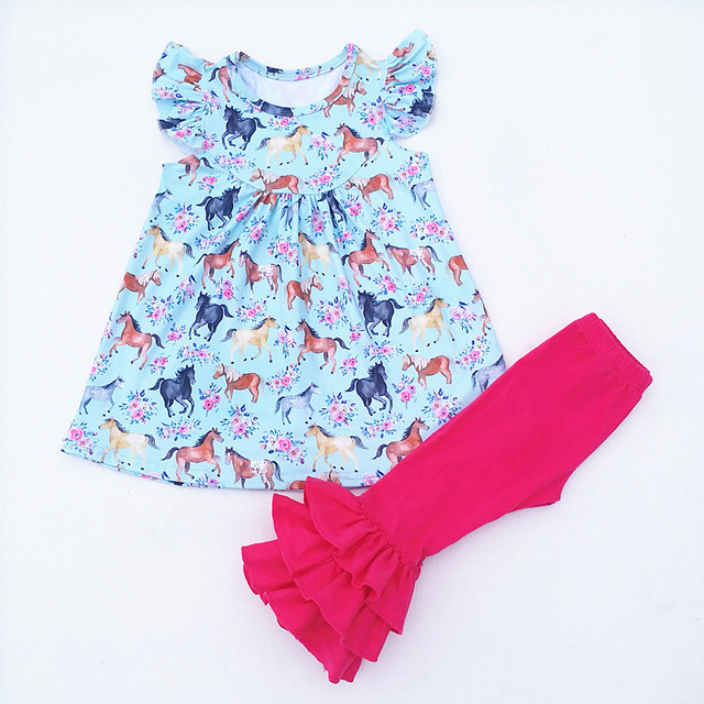 f9971f2b566e Fall Wholesale horse children outfit boutique Cotton icing pants ...