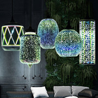 Nordic Art 3D Colorful Glass Pendant Lamp Restaurant bar cafe Lights Clothing store retro Window light fixture