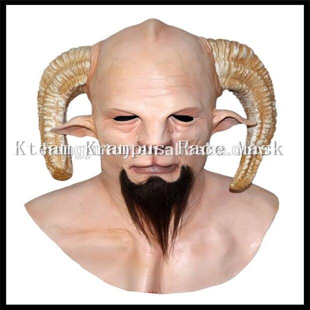 2017 Top Grade 100% Latex Halloween fête Cosplay réaliste chèvre diable démon bête à cornes adulte Latex Krampus masque film masque