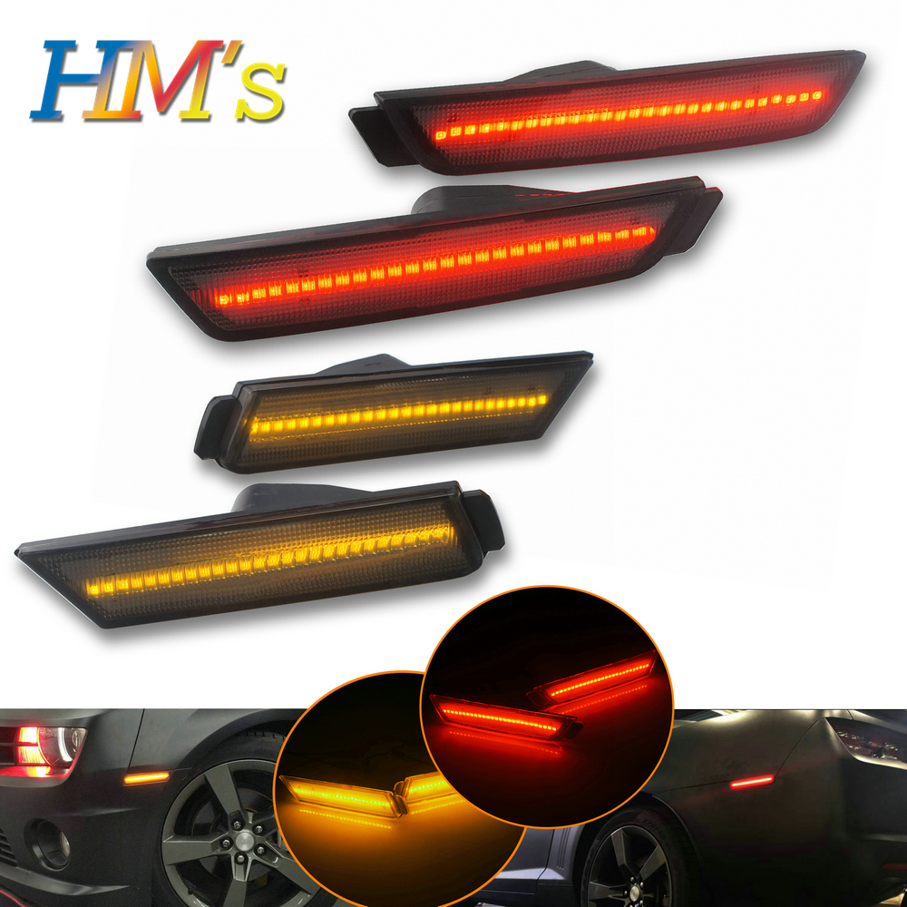 (F+R) For Chevy Camaro 2010 2011 2012 2013 2014 2015 Car Front Amber Rear Red Side Marker Lamps Turn Signals SMD LED Light (1)