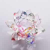 85mm Quartz Crystal Lotus Flower Crafts Glass Paperweight Fengshui Ornaments Figurines Home Wedding Party Decor Gifts Souvenir