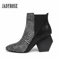 Jady Rose 2019 Strange Style High Heels Women Shoes Leather Feminina Mujer Elastic Ankle Boots Women's Slip On Fashion New Pumps