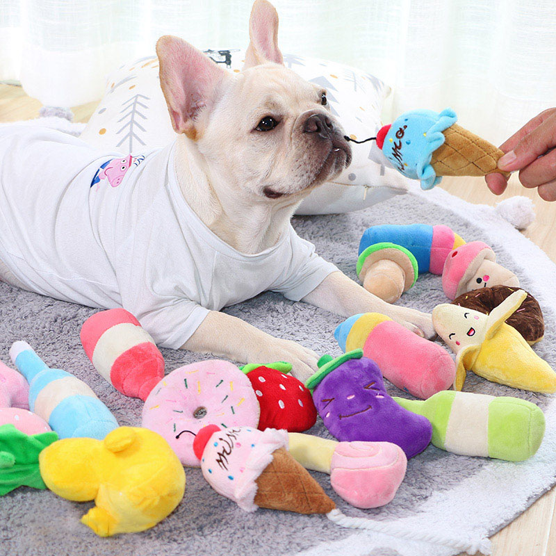 Plush Dog Toys For Dog Puppy Chew Toy Small Medium Dogs Toy Squeak Pet Sound Toy Peluche Dogs Supplies French Bulldog Chihuahua