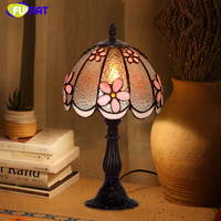 FUMAT Stained Glass Table Lamp Art Small Table Lamp Living Room Bedside Pink Flower Lamp Romantic Decoration LED Table Lights