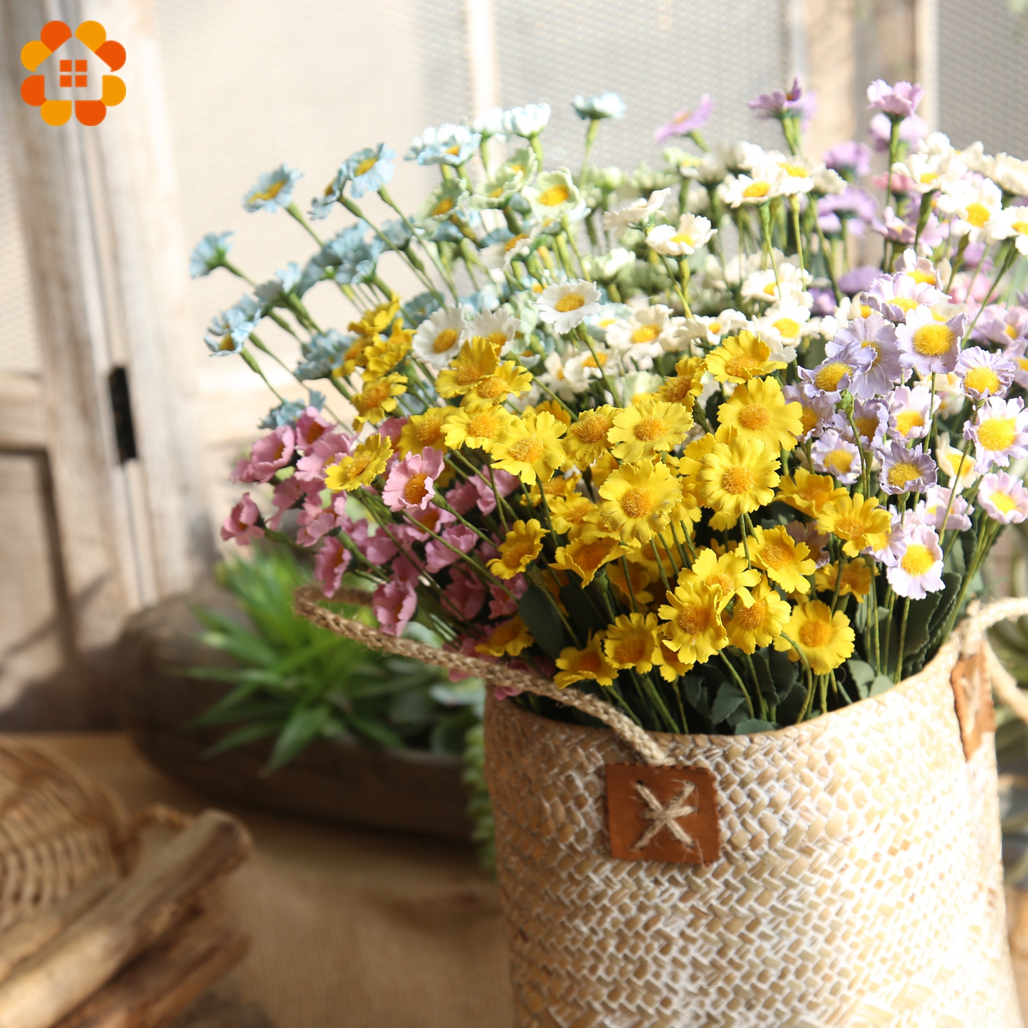 15 Heads/Branch Colorful Artificial Flowers Silk Daisy Flowers Fake Flowers DIY Wedding Party Decoration Home Vases Decoration
