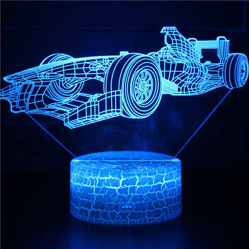 Magiclux Transporation Theme Table Lamp With ABS Base And Acryl Light Board 3D F1 Race Car Modle USB Bedroom Lamp For Christmas