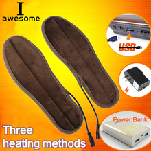 USB Heated Insoles Winter Electric Powered Plush Fur Heating Insoles Winter Keep Warm Usb Charged for Foot Shoes Insole Unisex недорого