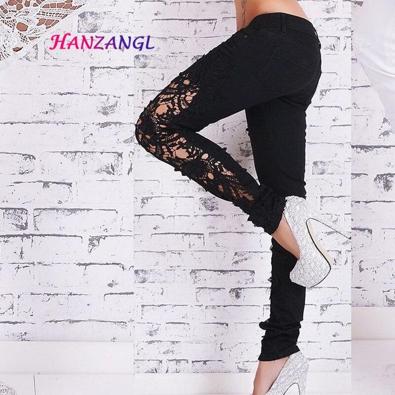 HANZANGL New Jeans Women Pants Low Waist Skinny Jeans Woman 2017 Lace Hollow Sexy Pencil Denim
