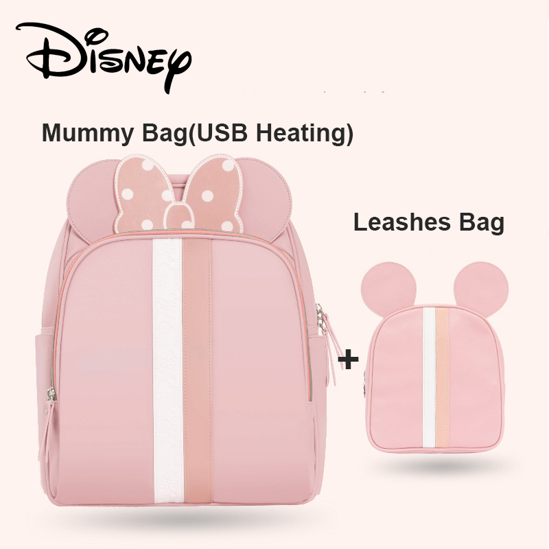 Disney 2pcs Diaper Bag Backpack USB Bottle Insulation Bags Minnie Mickey Big Capacity Travel Oxford Feeding