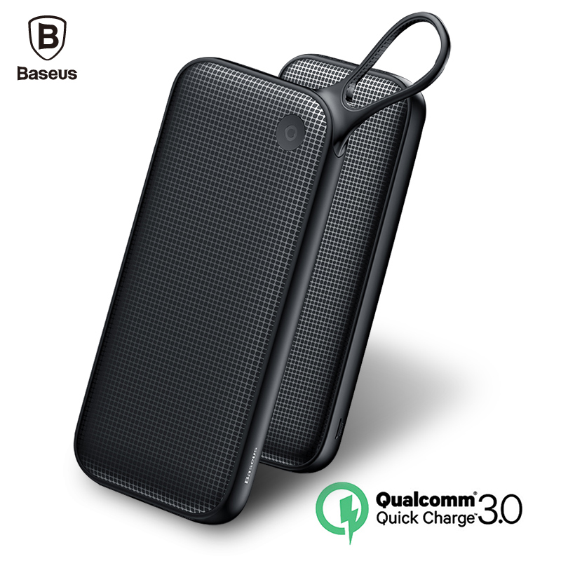 Baseus 20000mAh Quick Charge 3.0 Power Bank Dual QC3.0 + 18W Type C PD Ports Fast Charging External Battery Charger Powerbank