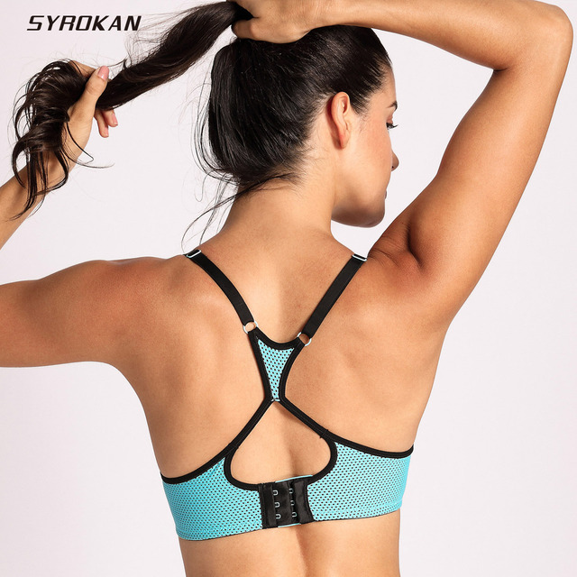 a214985fdb2 SYROKAN Women s Racerback Lift Comfort Mesh Foam Push Up Underwire Sports  Bra