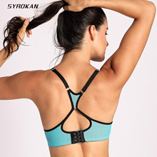 SYROKAN Women's Racerback Lift Comfort Mesh Foam Push Up Underwire Sports Bra