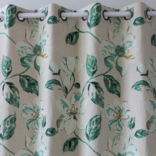new only 1piece water printing green floral linen window ready curtains panel door bedroom living room home Decor51*98inch