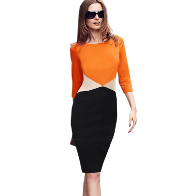 spring and summer new arrive Women Dress 2018 fashion explosion and the wind hit color mosaic sexy slim pencil dress 711