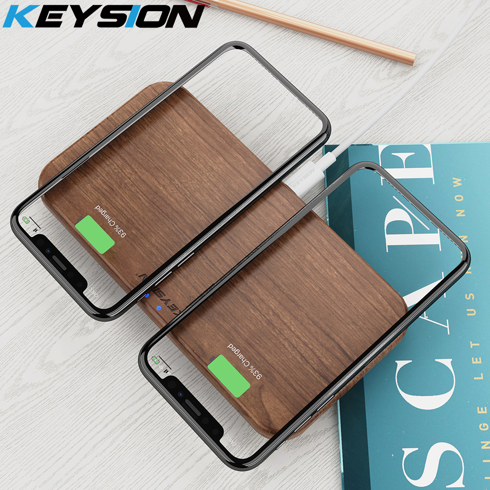 KEYSION Dual Wireless Charger 5 Coils Qi Fast Charging Pad Compatible for iPhone X XS Max Samsung S10 S9 New AirPods Xiaomi Mi 9-in Wireless Chargers from Cellphones & Telecommunications
