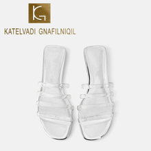 KATELVADI Women Summer Slippers Outdoor Clear PVC Strip Brand Beach Sandals Fashion Slip On Slipper K-391