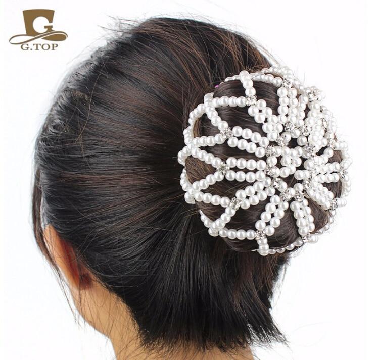 Women Girl Plain Colour Pearl Crochet Hair Snood Net