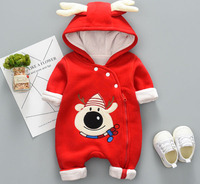 Newborn autumn winter cotton padded Christmas snowman red jumpsuit baby winter coat