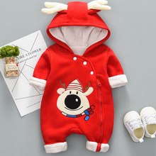 Newborn autumn cotton-padded snowman red jumpsuit baby