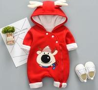 Newborn autumn winter cotton padded Christmas snowman red jumpsuit baby winter coat