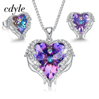 Cdyle Heart Jewelry Sets Embellished with crystals Jewellery Angel Necklace Earrings Set Woman Jewelry Sets For Women