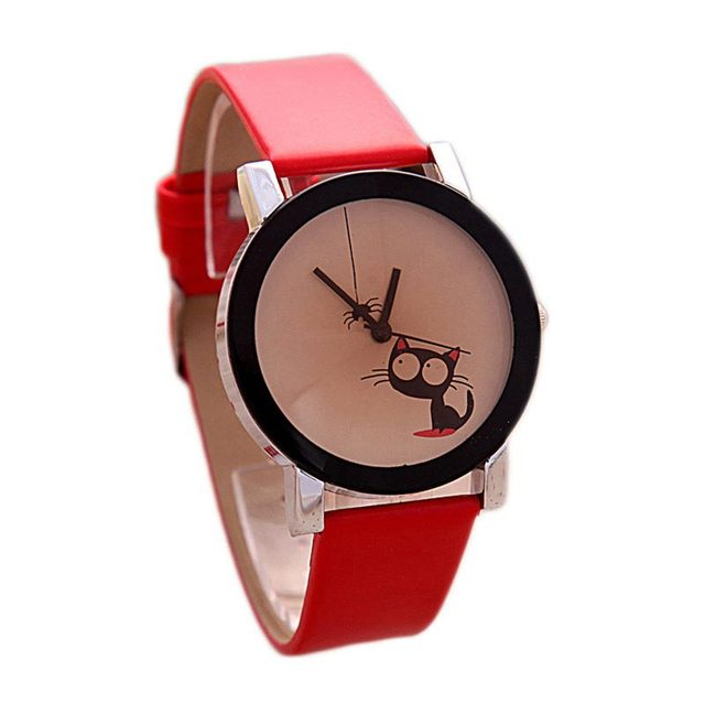 Simple Watch Funny Cute Kids Cat Fashion Watch Women Wristwatch Hour Lady Child