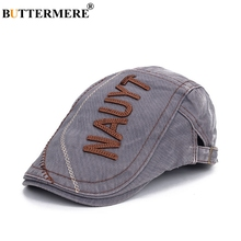 BUTTERMERE Embroidery Beret Men Grey Washed Denim Flat Cap Hat Male Classic Duckbill Letter Spring Autumn Retro Driving Ivy Caps