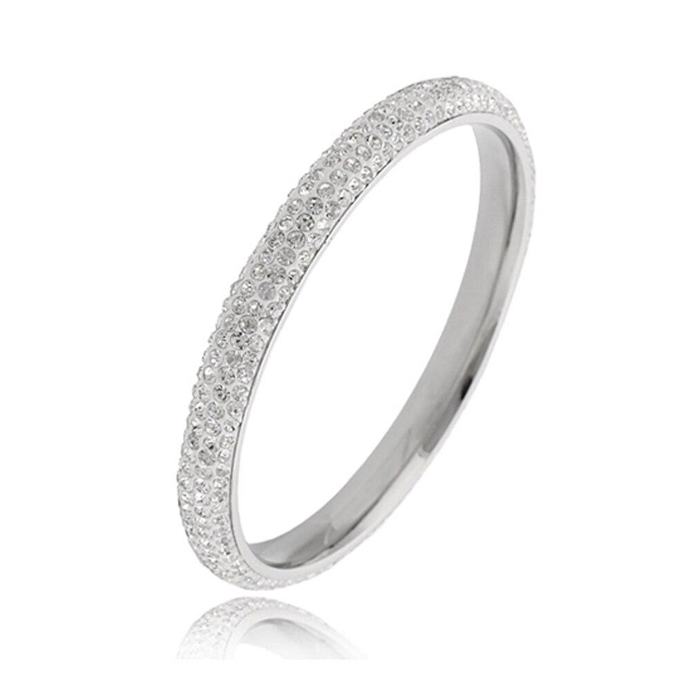9e1c0fae62d4 Joyería cristalina de la manera del acero inoxidable pulseras brazaletes  para las mujeres
