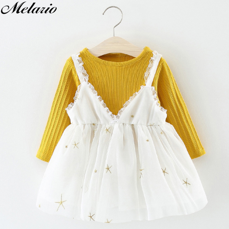 Melarie Baby Girls Clothing 2018 Summer Girl Dress kids dresses for girls Cotton long sleeve Dress Children Kids Dress toddlers girls dots deer pleated cotton dress long sleeve dresses page 10
