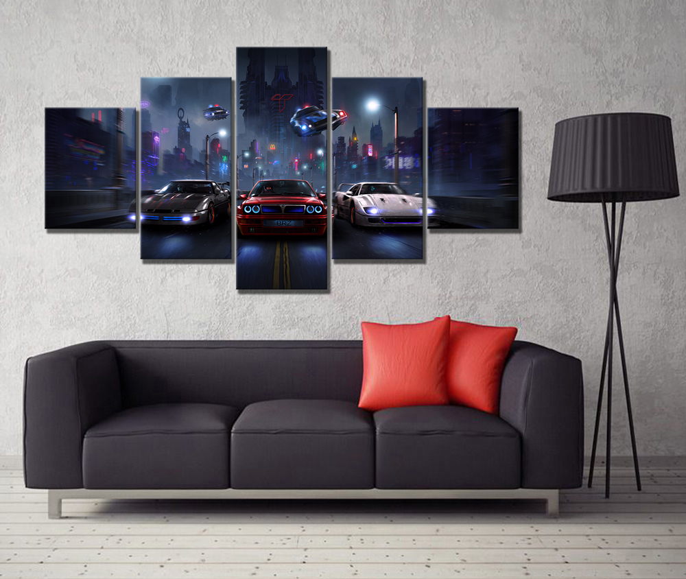 Room Decor Wall Art Painting HD Print Canvas For Living Canvas For Wall Art 5 Piece Need For Speed Game Modern Decorative image