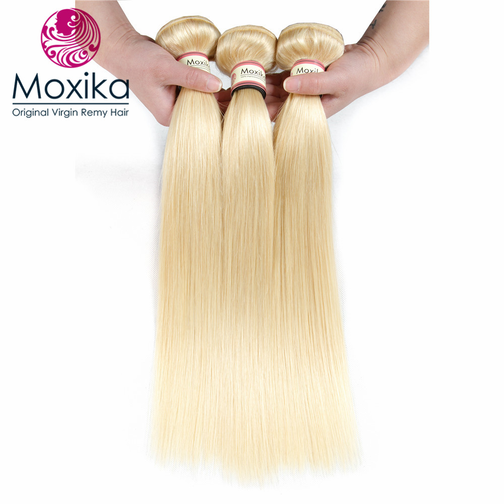 Search For Flights Moxika 613 Light Blonde Peruvian Straight Human Hair Bundle 3pcs/lot 12-24 Inch Blonde Human Hair Weaves Extensions Rich And Magnificent 3/4 Bundles