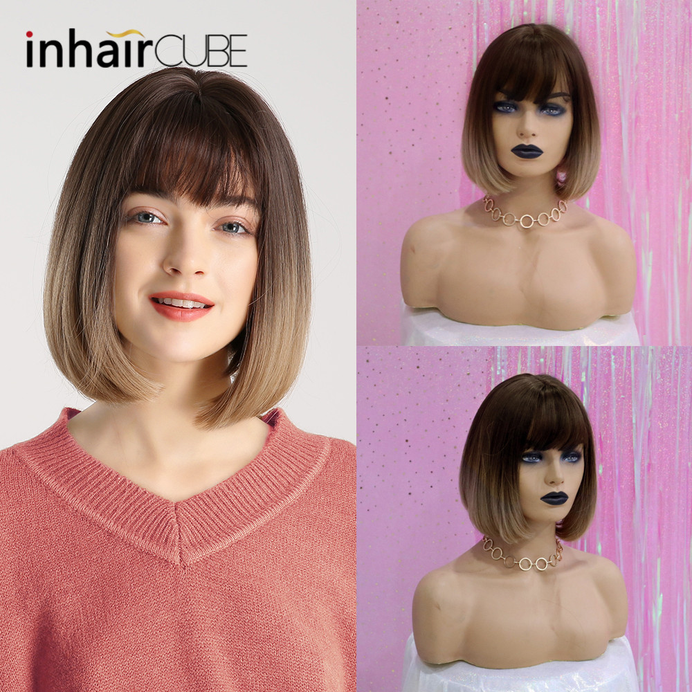 Image 4 - Inhair Cube Synthetic Flat Bangs Women Wig Ombre with Highlight Short Straight Hair Bob Wig  Cosplay  Hairstyle-in Synthetic None-Lace  Wigs from Hair Extensions & Wigs