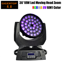 Gigertop TP L606D Zoom Led Moving Head Light 36*18W 6in1 RGBWA+UV DJ DMX Wash Light Good Quality Led Display 15 60 Degree Zoom
