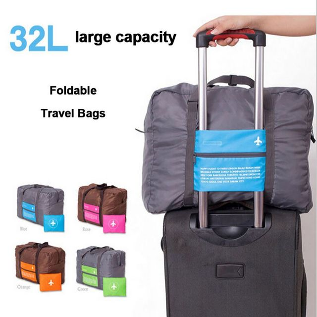 32l Large Capacity Portable Folding Handbags Overnight Airplane Travel Trolley Bags For Outdoor Sports