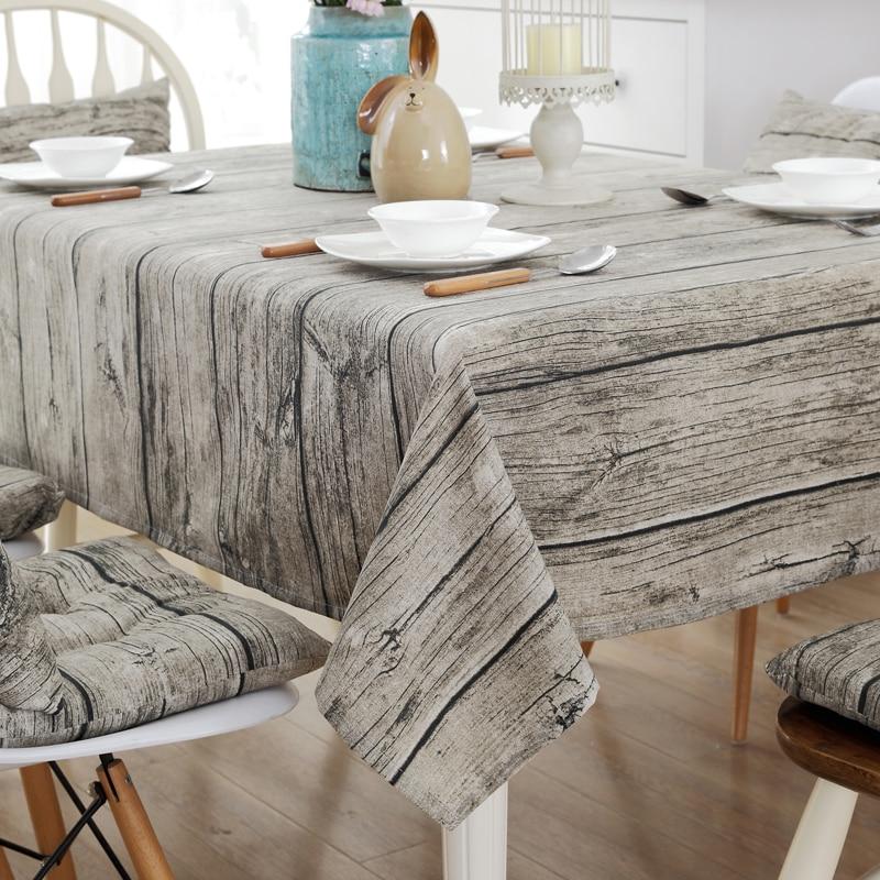 Wood Grain Tablecloth Cotton Linen Rectangle Table Cloth For Table Retro Table Cover Table Linen Customizable