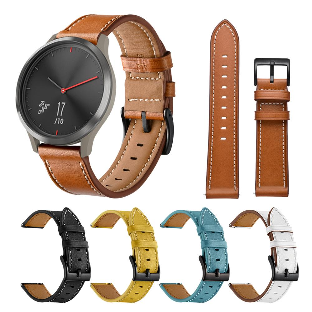 Replacement Wristwatch Band Smart Watch Band Leather Watch Strap For Garmin Vivoactive 3/Vivomove HR 20mm SmartWatch Accessories