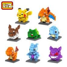 Loz мини poket монстр пикачу игрушки bulbasaur charmander squirtle mewtwo eevee аниме модель блоки