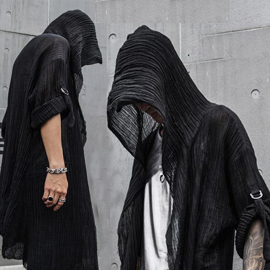 Men/'s Cotton Linen Waistcoat Long Cardigan Cloak Hip Hop Cape Coat Jackets Tops