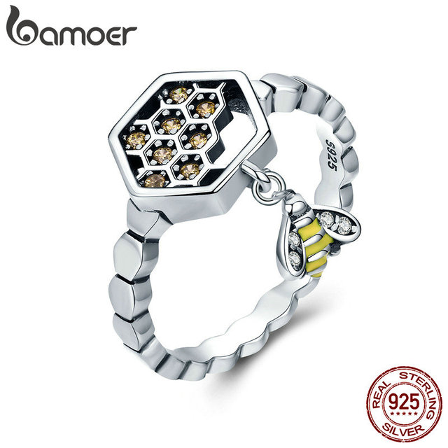 BAMOER 100% 925 Sterling Silver Fashion Bee with Honeycomb Female Finger Rings f