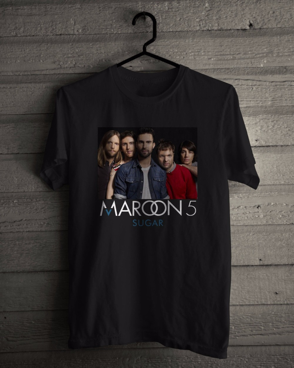 Fashion Fun Mens Maroon 5 T-Shirt Aka Karas Flowers American Pop Rock Band Sugar Black Tee