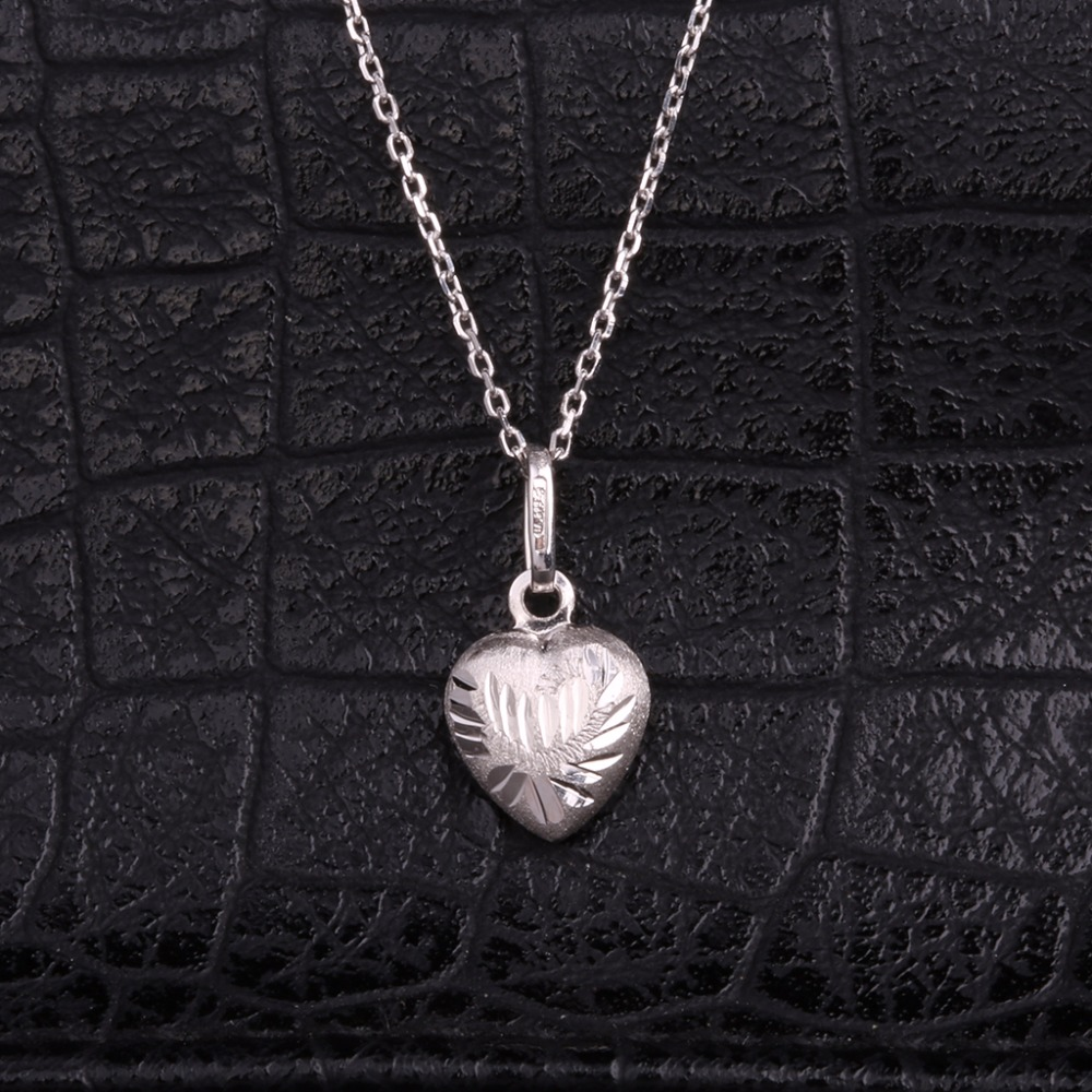 Robira Trendy Heart Pendant Necklace for Valentine's Day Gift 18K White Gold Fashion Maxi Statement Necklace Fine Jewelry yoursfs heart necklace for mother s day with round austria crystal gift 18k white gold plated