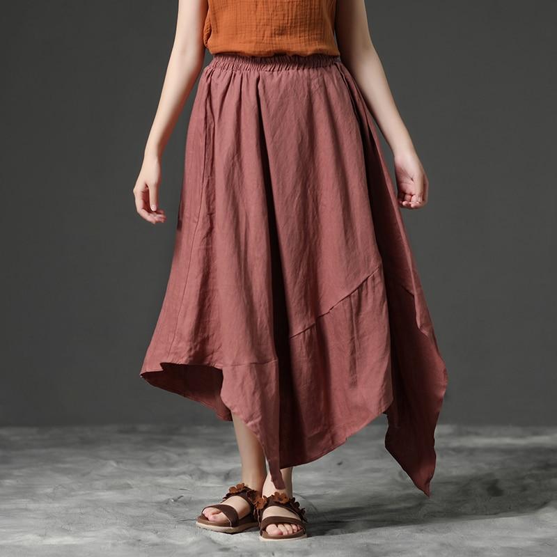 BUYKUD femmes jupes été grande taille mollet-longueur lâche jupe femme Vintage jupes irrégulières Faldas Mujer Moda 2019
