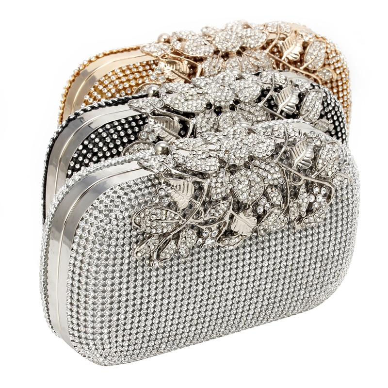 THINKTHENDO Women Evening Clutch Bag Crystal Rhinestone Flower Bridal Wedding Handbag Purse